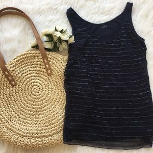 | LOFT | Navy Sequins Tank Top